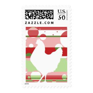 Cherry-Lime Pop Art Chicken Postage