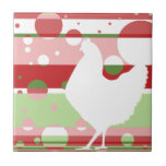 Cherry-Lime Pop Art Chicken Small Square Tile