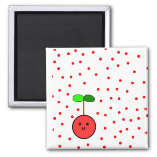Cherry magnet with red polka dots