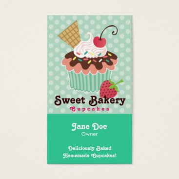 Professional Business Cherry & Mint Cupcake Business Cards