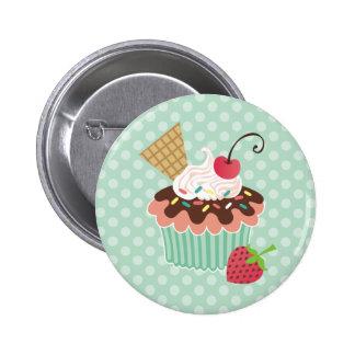Cherry & Mint Cupcake Button