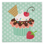 Cherry & Mint Cupcake Canvas Print
