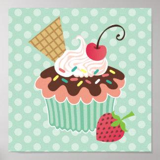Cherry & Mint Cupcake Canvas Print