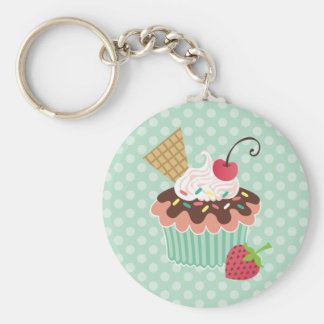 Cherry & Mint Cupcake Keychains