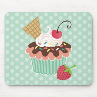 Cherry & Mint Cupcake Mouse Pads