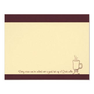 "Cherry Mocha Irish Coffee Cup Note Cards 4.25"" X 5.5"" Invitation Card"