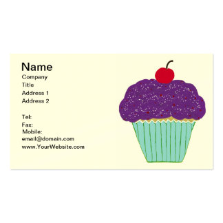 Cherry on Top Purple Frosting Vanilla Cupcake Business Cards