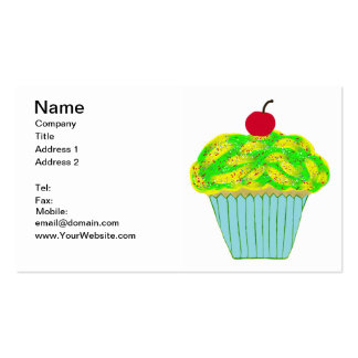 Cherry on Top Yellow and Green Vanilla Cupcake Business Cards