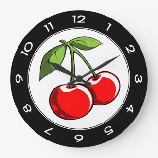 Cherry Pair Large Clock