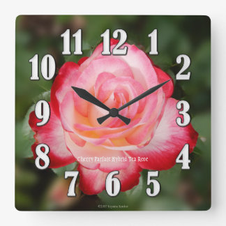 Cherry Parfait Pink Rose Large Numbers Wall Clock