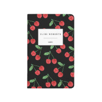 Cherry Pattern Black Personalized Journal