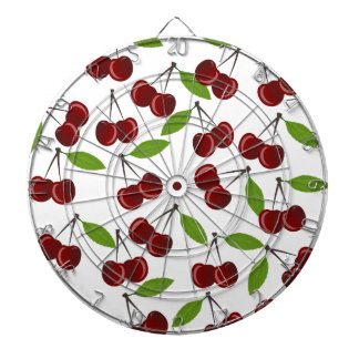 Cherry pattern dartboard with darts
