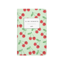 Cherry Pattern Green Personalized Journal
