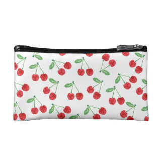 Cherry Pattern Print | White Cosmetic Bag