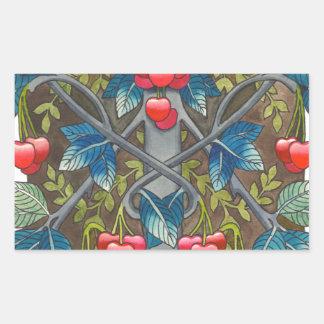Cherry pattern rectangular sticker