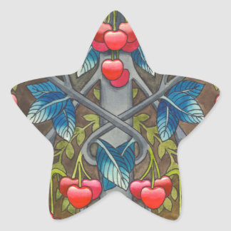 Cherry pattern star sticker