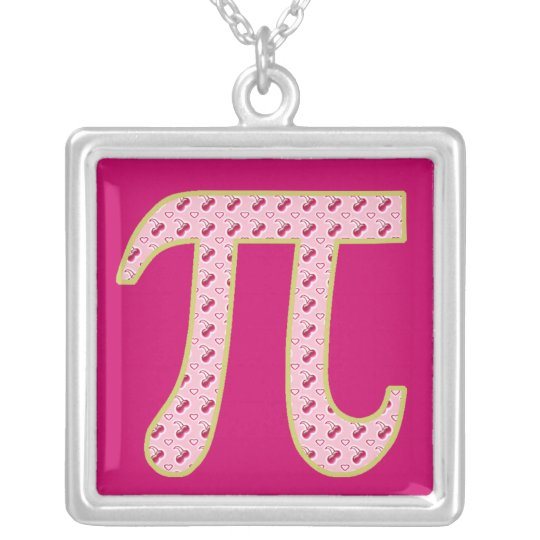 cherry pi (pie) silver plated necklace