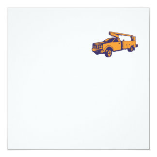 Cherry Picker Mobile Lift Truck Woodcut Card