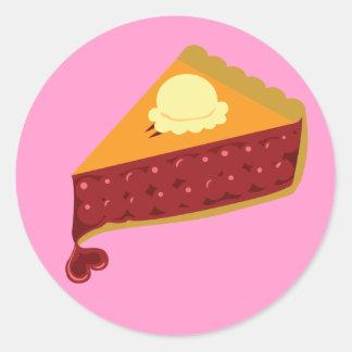 Cherry Pie Heart Round Stickers