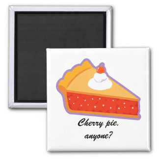 Cherry pie with whipped cream 2 inch square magnet