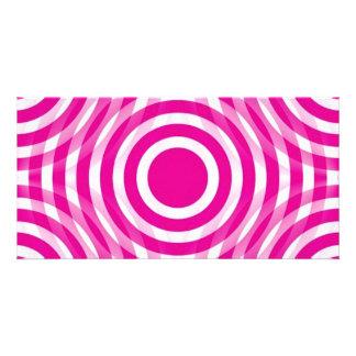 cherry_pink_and_white_interlocking_concentric_circ tarjeta fotografica personalizada