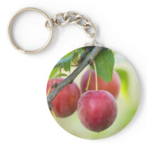 Cherry plum on branch keychain