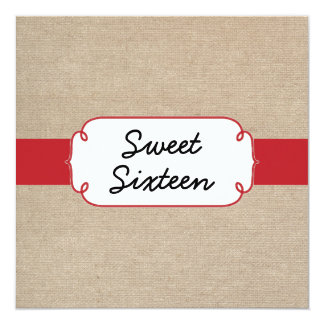 Cherry Red and Beige Burlap Sweet Sixteen Card