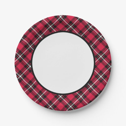 Cherry Red And Black Sporty Plaid Border Paper Plate Zazzle