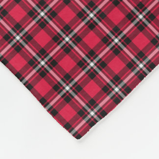 Cherry Red and Black Sporty Plaid Fleece Blanket