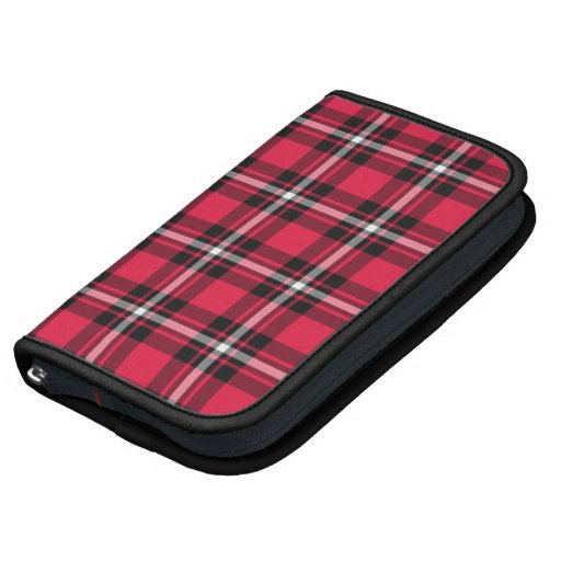Cherry Red and Black Sporty Plaid Planner Folio