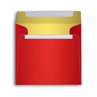 Cherry Red and Gold Linen Envelopes