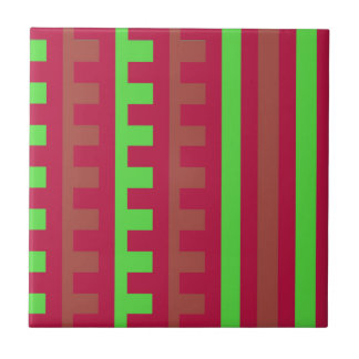Cherry Red and Green Combs Tooth Ceramic Tiles
