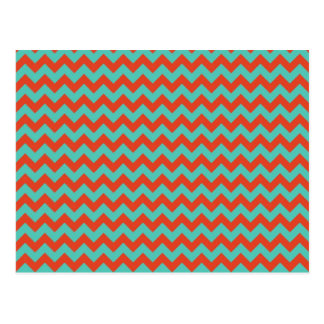 Cherry Red and Mint Green Zigzag Chevron Postcard