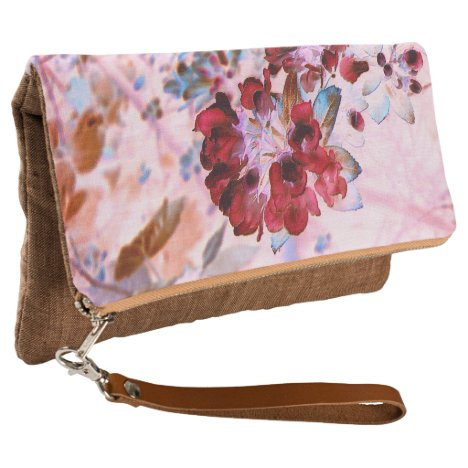 Cherry Red and Pink Floral Clutch