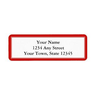 Cherry Red and White Custom Return Address Label