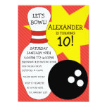 Cherry Red Bowling Bash Bowling Birthday Party Card
