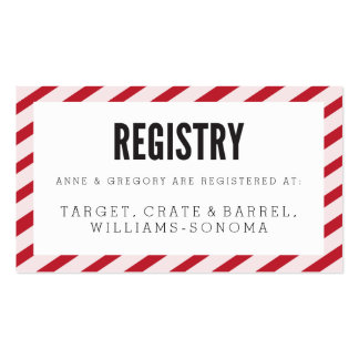 Cherry Red Carnival Stripes Registry Insert Card Double-Sided Standard Business Cards (Pack Of 100)