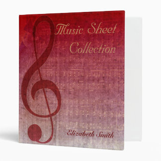 Cherry Red Clef Music Sheet Collection Binder
