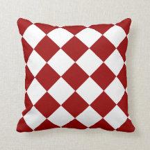 Cherry Red Diamond Pattern Pillows