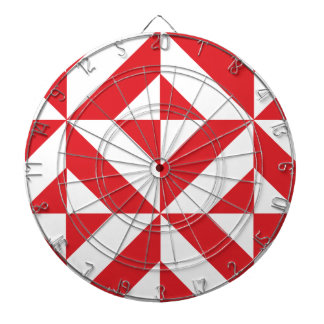 Cherry Red Geometric Deco Cube Pattern Dartboards