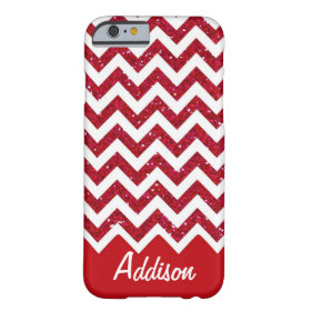Cherry Red Glitter Chevron Name BLING Case Barely There iPhone 6 Case