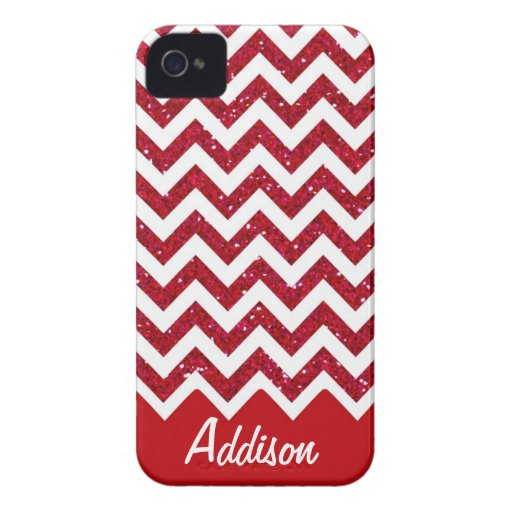 Cherry Red Glitter Chevron Name BLING Case iPhone 4 Cases