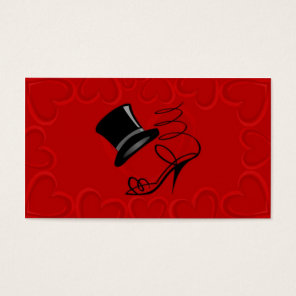 Cherry Red Hearts Top Hat and High Heel Place card