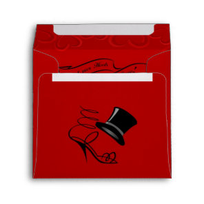 Cherry Red Hearts Top Hat and High Heels Envelope