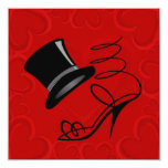 "Cherry Red Hearts Top Hat and High Heels Invite 5.25"" Square Invitation Card"