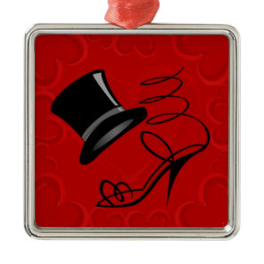 Cherry Red Hearts Top Hat and High Heels Metal Ornament