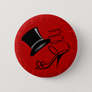 Cherry Red Hearts Top Hat and High Heels Pinback Button