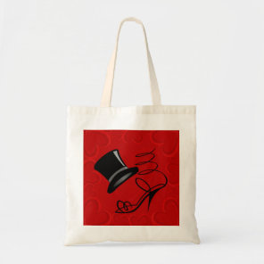 Cherry Red Hearts Top Hat and High Heels tote bag