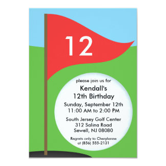 Cherry Red Let's Bogie Mini Golf Birthday Party 4.5x6.25 Paper Invitation Card