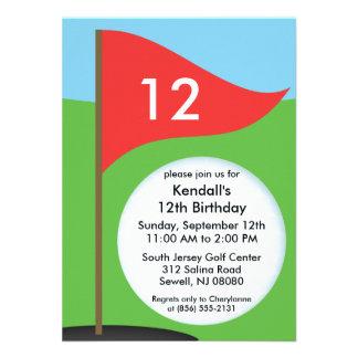 Cherry Red Let's Bogie Mini Golf Birthday Party Custom Announcements